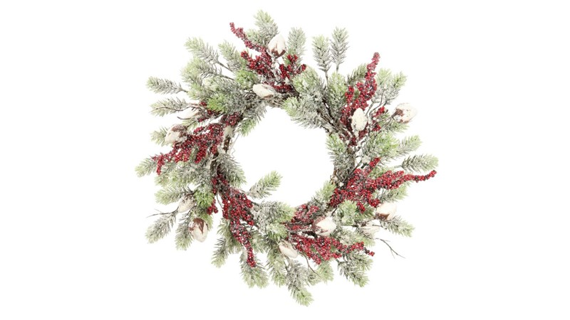 Frosted Pine & Berry Wreath