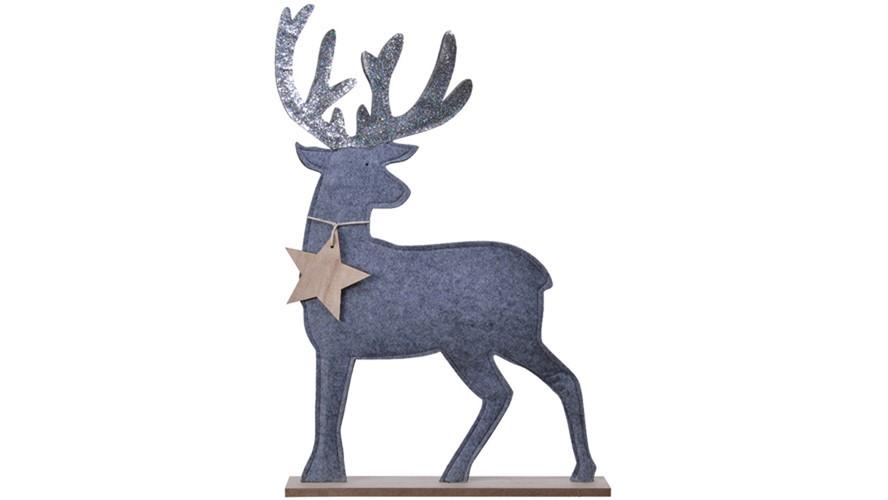Felt Deer On Stand - Misty Grey