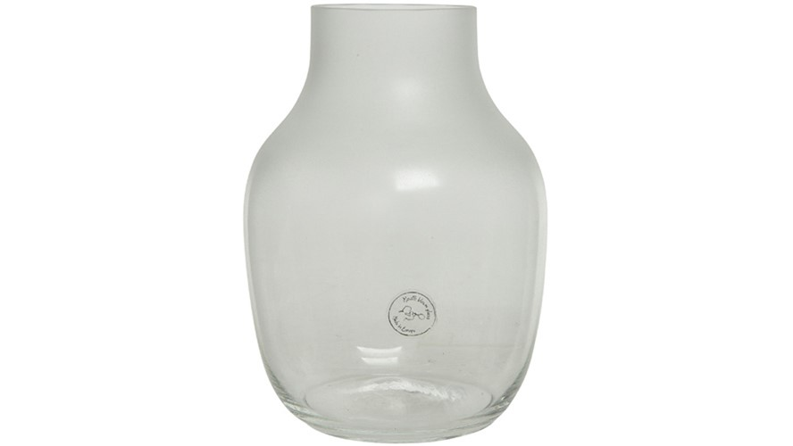 Irregular Oval Vase - Clear Frosted