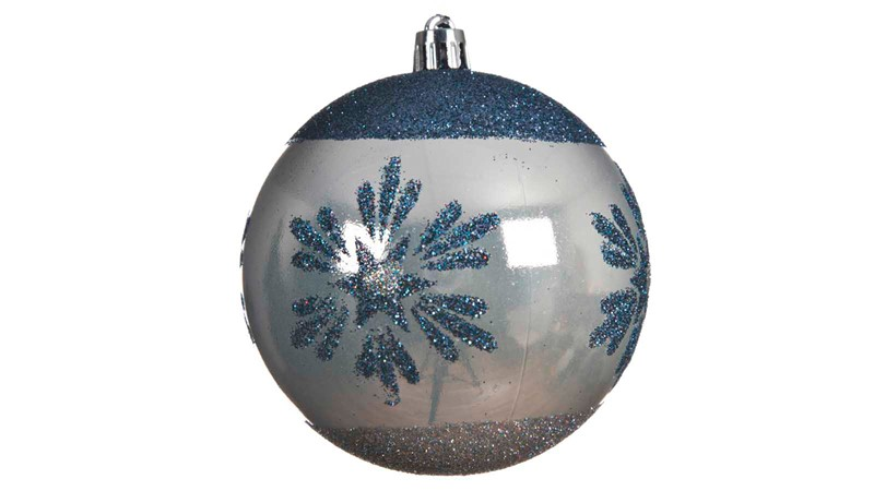 Snowflake Bauble with Metal Cap and Wire