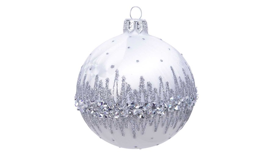 Decorated Glass Bauble with Glitter Border - White Ice Lacquer