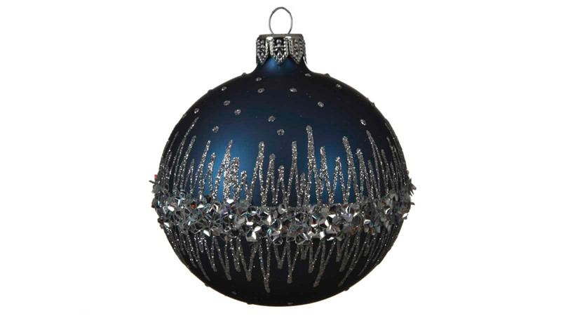 Decorated Glass Bauble with Glitter Border - Night Blue