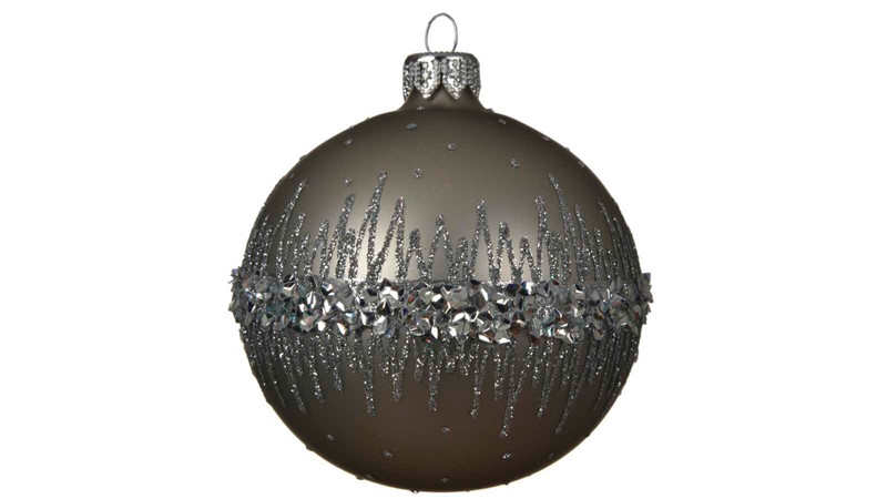 Decorated Glass Bauble with Glitter Border - Misty Grey