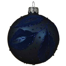 Glass Bauble with Leaf Deco - Night Blue