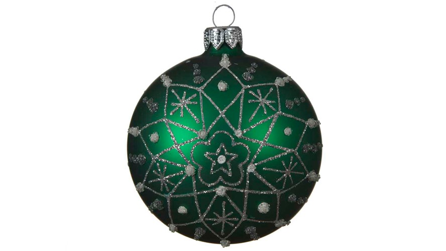 Glass Bauble with Snowflake Deco - Holly Green