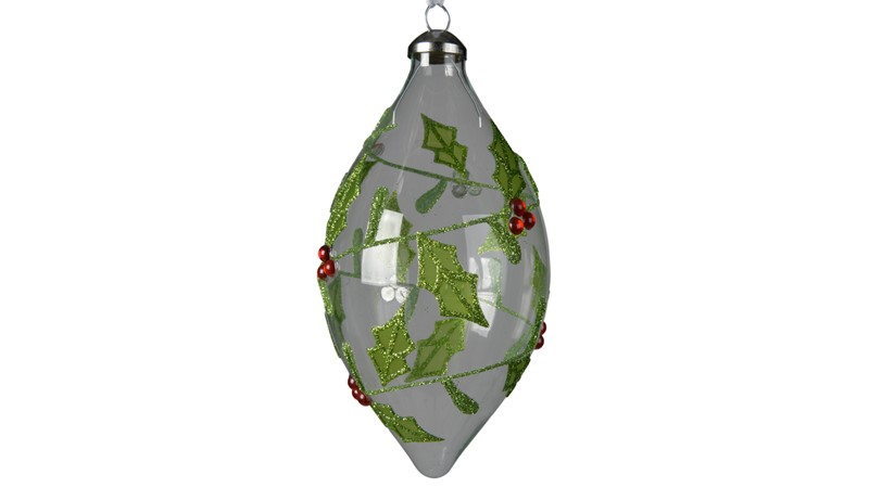 Glass Olive with Glitter Holly - Transparent