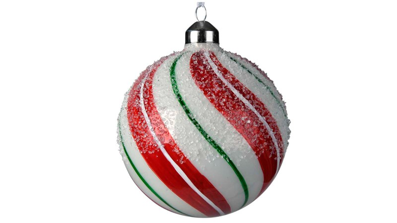 Glass Striped Bauble with Sugar Finish