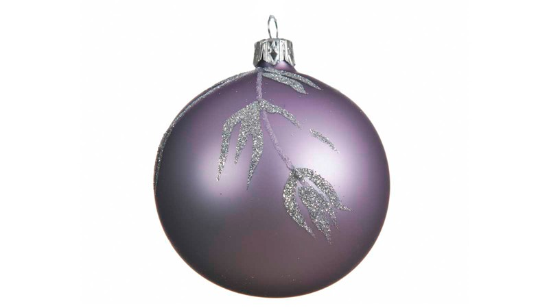 Glass Bauble with Branch & Leaf Decoration