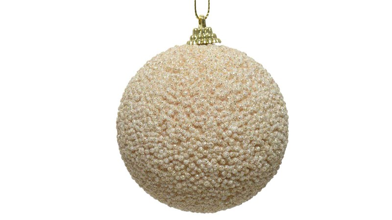 Foam Bauble with Glitter Beads - Pearl
