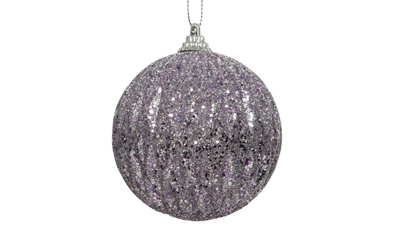 Foam Bauble with Glitter Beads - Frosted Lilac
