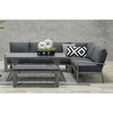 Aluminium Saturn Polar Grey Corner Garden Set - Black