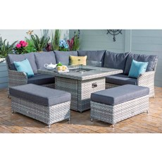 Heritage Tuscan Grand Square Garden Dining Set with Gas Fire Pit