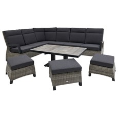 Rochester High Back Corner Garden Sofa Set with Rising Table