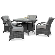Eden Flatweave 4 Seat Round Dining Set with Ice Bucket & Lazy Susan