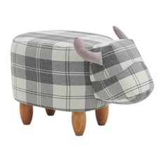 Maisie Grey Tartan Cow Footstool