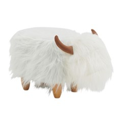 Roxanna White Highland Cow Footstool