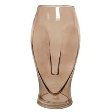 Long Face Glass Vase 30cm Brown