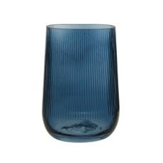 Dark Blue Ribbed Glass Vase