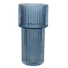 Dark Blue Tall Ribbed Glass Vase