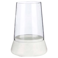 White Marble Glass Hurricane Candle