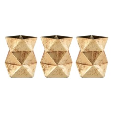 Trio Candle Holders Glass Antique Gold