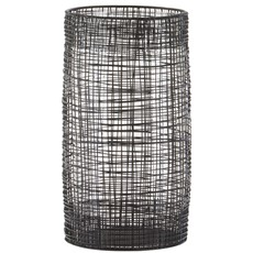 Large Black Metal Glass Holder Lantern
