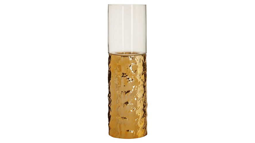 Gold Hammered Pillar Candle Holder - Medium