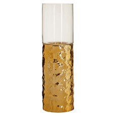 Medium Hammered Gold Pillar Glas Candle Hold