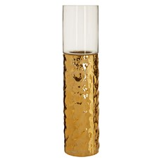 Large Hammered Gold Pillar Glas Candle Hold
