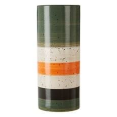 Green & Orange Stripe Stoneware Vase - Small