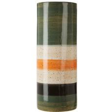 Green & Orange Stripe Stoneware Vase - Large