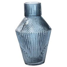 Blue Ribbed Glass Vase
