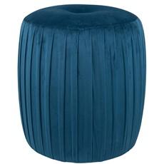 Sapphire Blue Velvet Buttoned Cylinder Pouffe