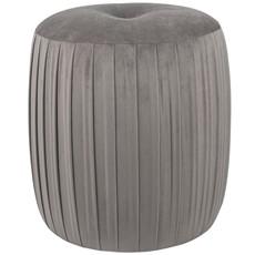 Dove Greyv Velvet Buttoned Cylinder Pouffe