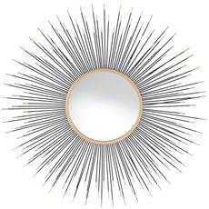 Starburst Round Wall Mirror - Black and Gold