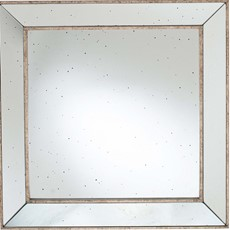 Foxed Glass Square Mirror - Antique Gold