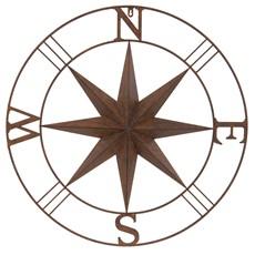 Outdoor Wall Compass - Rust