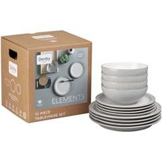 Denby Elements Light Grey Tableware Set - 12 Piece