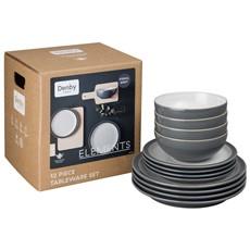 Denby Elements Fossil Grey Tableware Set - 12 Piece