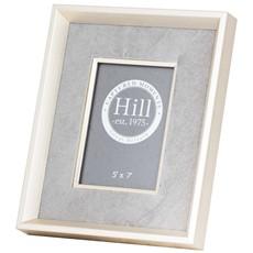 Antiqued Pewter and Grey Velvet Frame