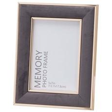 Grey Velvet and Gold Frame