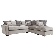 Allure Corner Sofa with Stool Chaise Right - Aaron Silver Fabric