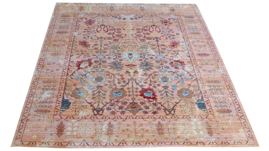 Aqua Silk Rug - B050B Beige-Orange
