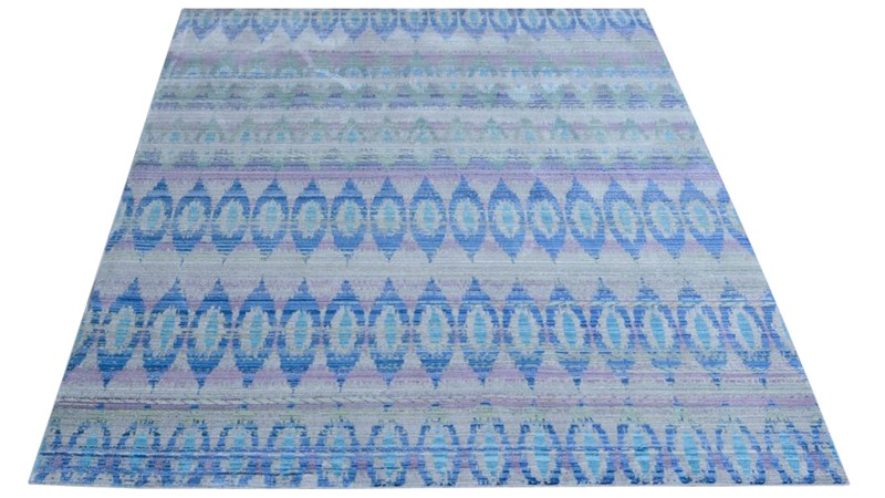 Aqua Silk Rug - E165A Navy Blue