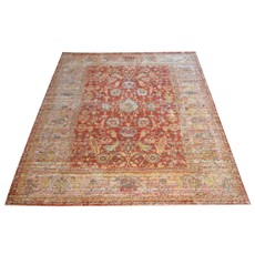 Aqua Silk Rug - E309B Beige-Orange