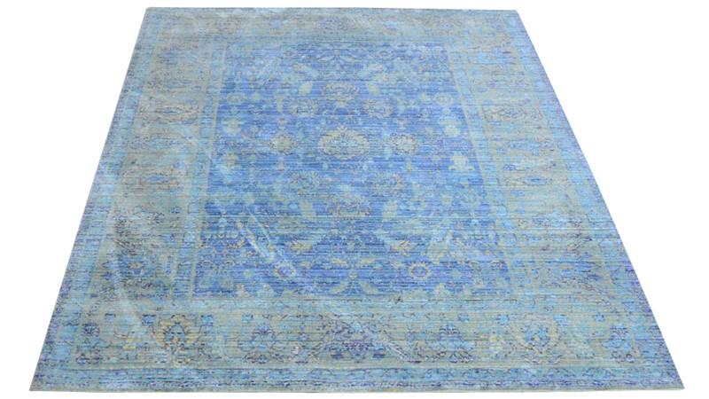 Aqua Silk Rug - E309B Blue-Light Blue
