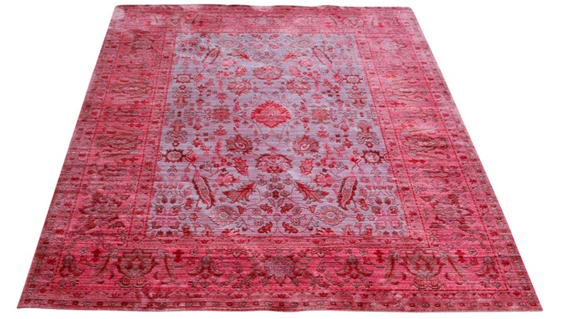 Aqua Silk Rug - E309C Brown-Fuscia