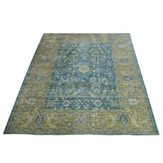 Aqua Silk Rug - E309C Green-Blue