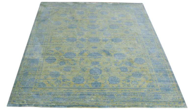 Aqua Silk Rug - E414A Dark Yellow-Blue