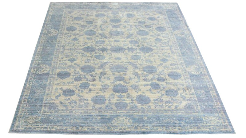 Aqua Silk Rug - E414A Grey-Light Blue